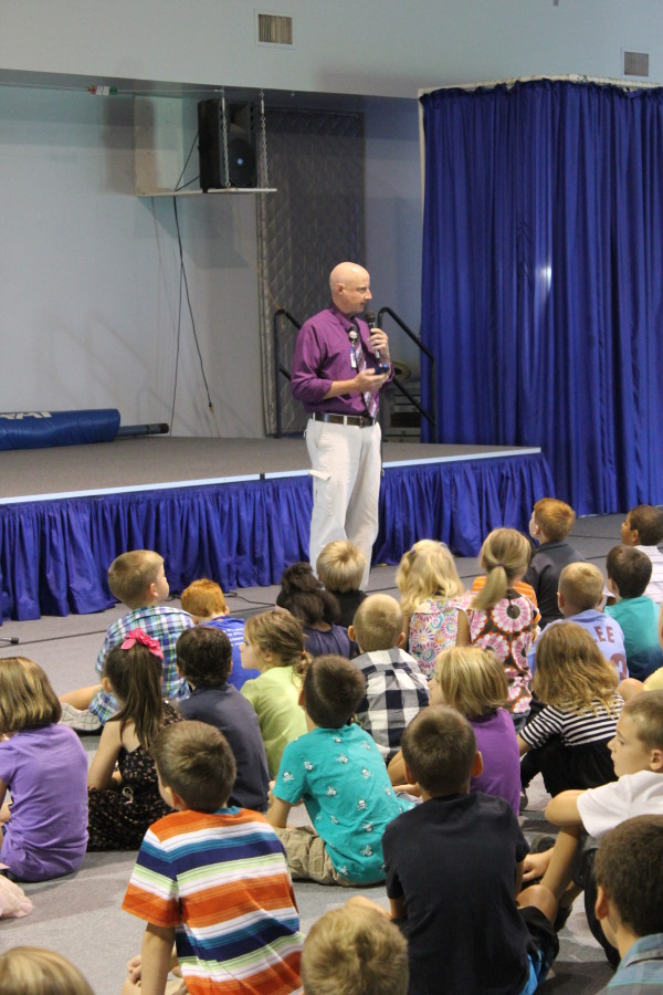 Mr. McFalls leads a chapel service welcoming students back to school!