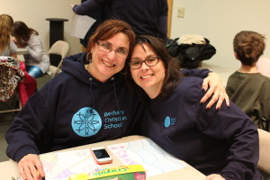 Mrs. Smith and Mrs. Ingiosi share a smile at ServeDay Thursday.